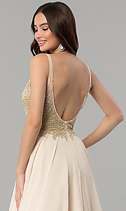Image of long open-back rhinestone-bodice v-neck prom dress. Style: DQ-2259 Detail Image 2