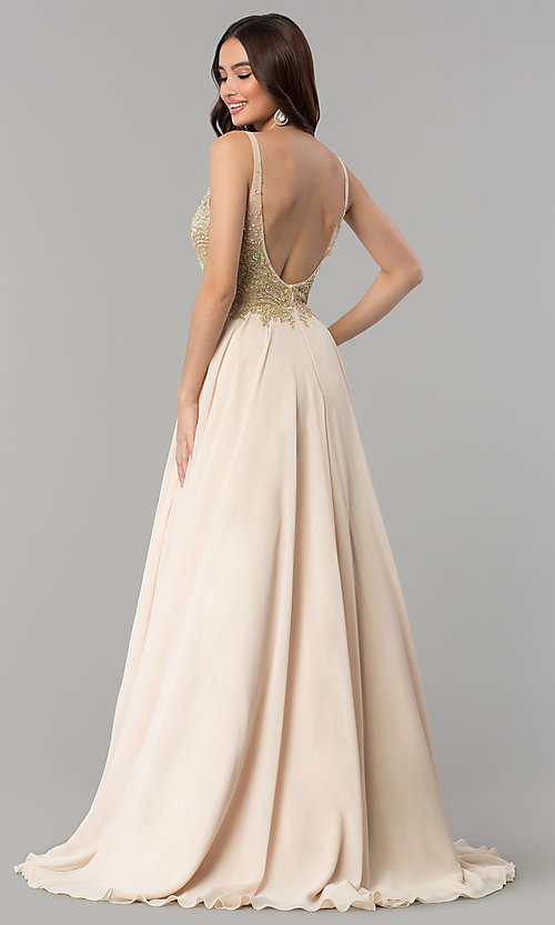 Image of long open-back rhinestone-bodice v-neck prom dress. Style: DQ-2259 Back Image