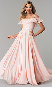 Image of chiffon off-the-shoulder long v-neck prom dress. Style: DQ-2377 Detail Image 3