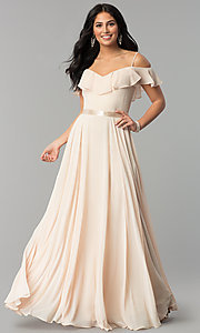 Image of chiffon off-the-shoulder long v-neck prom dress. Style: DQ-2377 Front Image