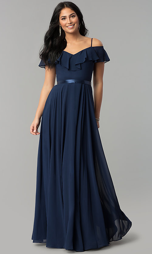 Image of chiffon off-the-shoulder long v-neck prom dress. Style: DQ-2377 Detail Image 1
