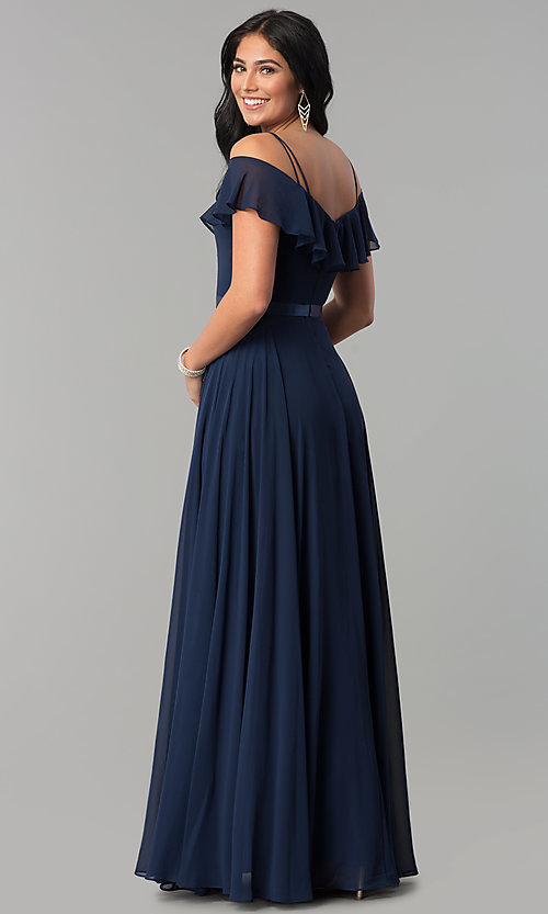 Image of chiffon off-the-shoulder long v-neck prom dress. Style: DQ-2377 Back Image