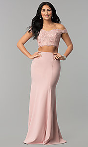 Image of long off-shoulder corset-back two-piece prom dress. Style: DQ-2353 Front Image