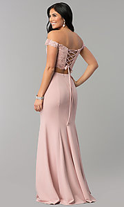 Image of long off-shoulder corset-back two-piece prom dress. Style: DQ-2353 Back Image