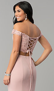 Image of long off-shoulder corset-back two-piece prom dress. Style: DQ-2353 Detail Image 2