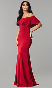 Image of off-the-shoulder long fitted flounce prom dress. Style: DQ-2348 Detail Image 2