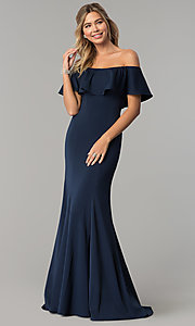 Image of off-the-shoulder long fitted flounce prom dress. Style: DQ-2348 Front Image