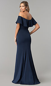 Image of off-the-shoulder long fitted flounce prom dress. Style: DQ-2348 Back Image
