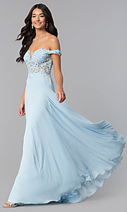 Image of off-the-shoulder long chiffon formal dress with lace. Style: DQ-2357 Detail Image 2
