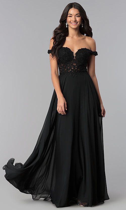 Image of off-the-shoulder long chiffon formal dress with lace. Style: DQ-2357 Front Image