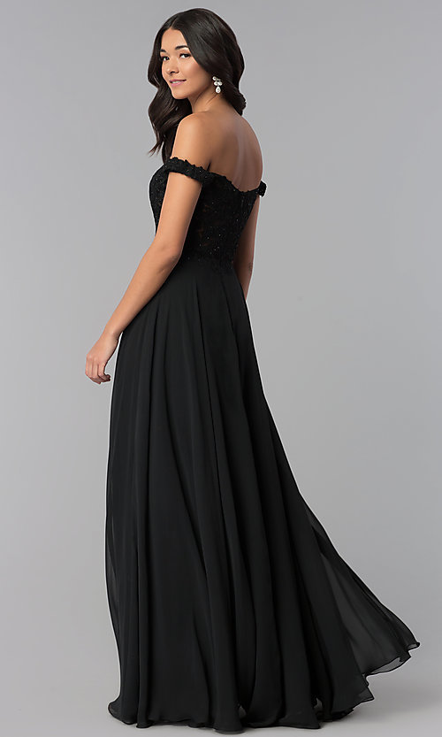 Image of off-the-shoulder long chiffon formal dress with lace. Style: DQ-2357 Back Image