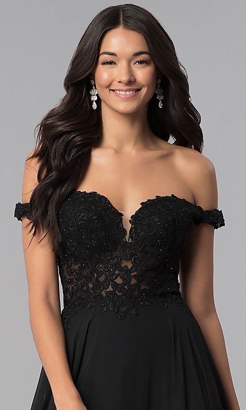Image of off-the-shoulder long chiffon formal dress with lace. Style: DQ-2357 Detail Image 1