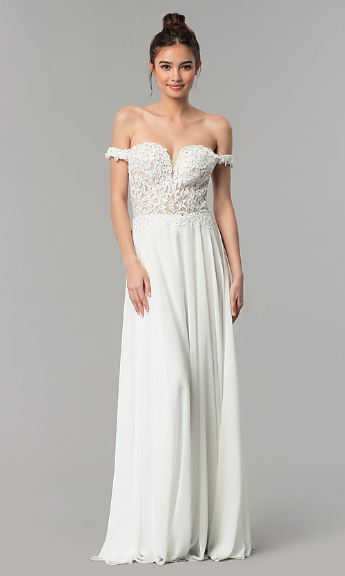 Image of off-the-shoulder long chiffon formal dress with lace. Style: DQ-2357 Detail Image 3