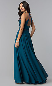 Image of long beaded-bodice a-line sheer-waist prom dress. Style: DQ-2341 Back Image