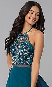 Image of long beaded-bodice a-line sheer-waist prom dress. Style: DQ-2341 Detail Image 1