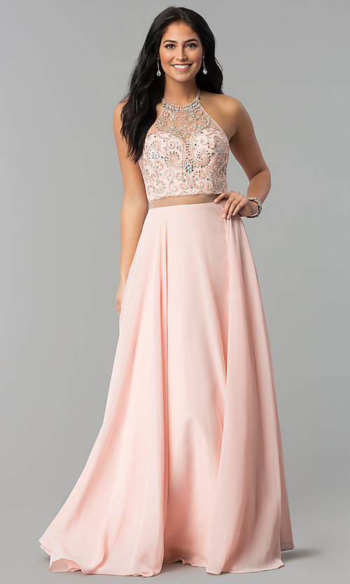 Image of long beaded-bodice a-line sheer-waist prom dress. Style: DQ-2341 Detail Image 2