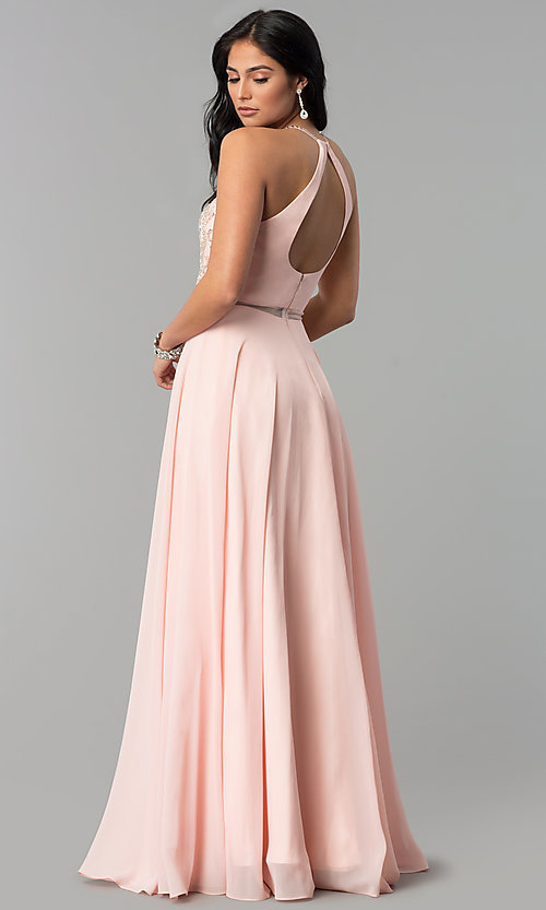 Image of long beaded-bodice a-line sheer-waist prom dress. Style: DQ-2341 Detail Image 3