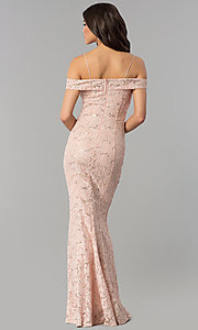 Image of notched off-the-shoulder long lace prom dress. Style: MCR-1805 Back Image