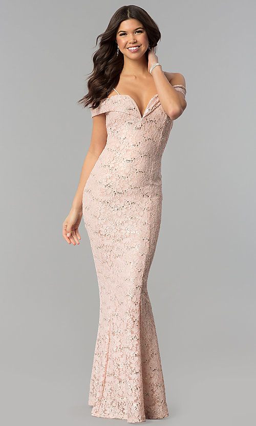 Image of notched off-the-shoulder long lace prom dress. Style: MCR-1805 Front Image