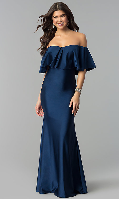 Image of off-the-shoulder long navy prom dress with flounce. Style: MCR-2190 Back Image