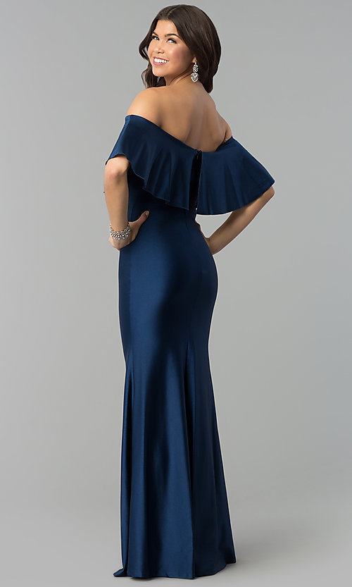 Image of off-the-shoulder long navy prom dress with flounce. Style: MCR-2190 Front Image