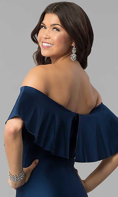 Image of off-the-shoulder long navy prom dress with flounce. Style: MCR-2190 Detail Image 2