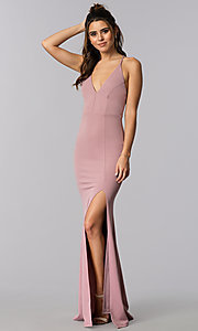 Image of long v-neck formal dress with open back. Style: MCR-2304 Front Image