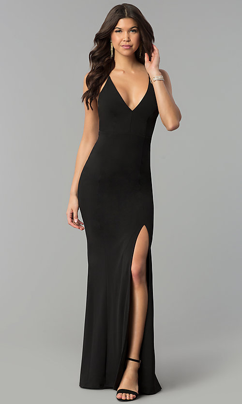 Image of long v-neck formal dress with open back. Style: MCR-2304 Detail Image 1