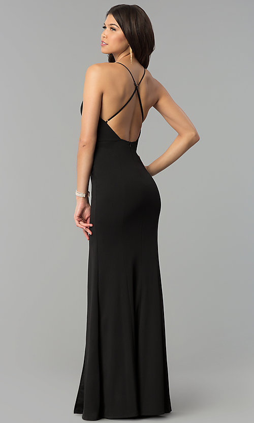 Image of long v-neck formal dress with open back. Style: MCR-2304 Back Image