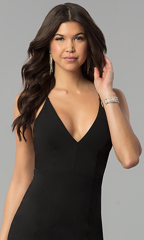 Image of long v-neck formal dress with open back. Style: MCR-2304 Detail Image 2