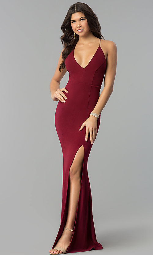 Image of long v-neck formal dress with open back. Style: MCR-2304 Detail Image 3