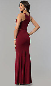 Image of burgundy red long prom dress with illusion sides. Style: MCR-2230 Back Image