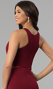 Image of burgundy red long prom dress with illusion sides. Style: MCR-2230 Detail Image 2