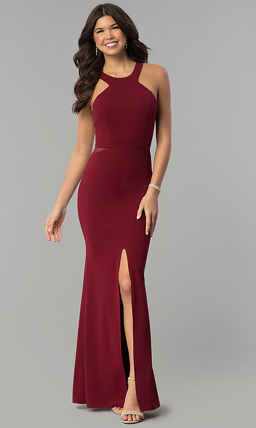 Image of burgundy red long prom dress with illusion sides. Style: MCR-2230 Front Image