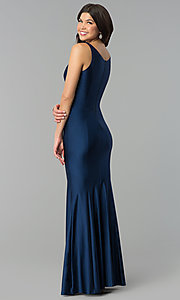 Image of long navy blue prom dress with v-neck and side slit. Style: MCR-2328 Back Image