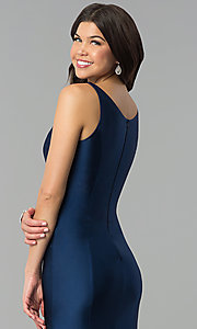 Image of long navy blue prom dress with v-neck and side slit. Style: MCR-2328 Detail Image 2