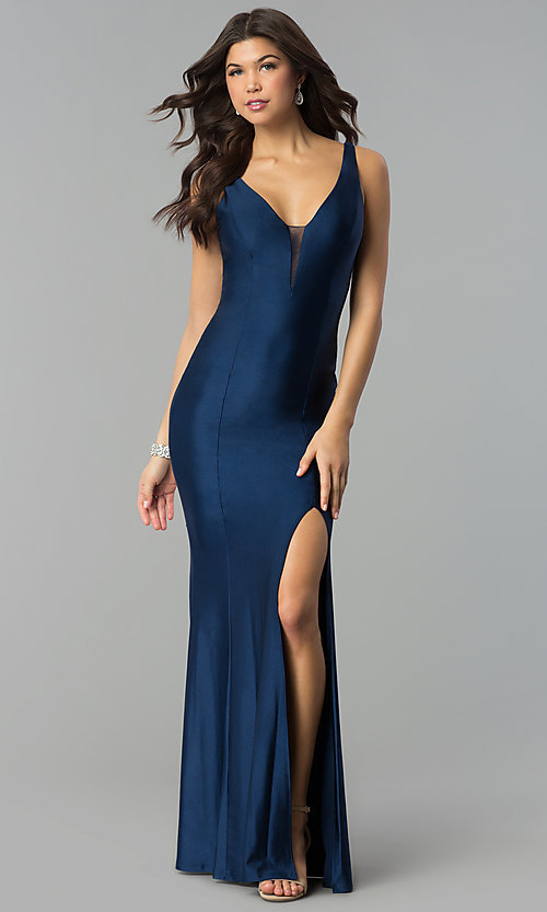 Image of long navy blue prom dress with v-neck and side slit. Style: MCR-2328 Front Image