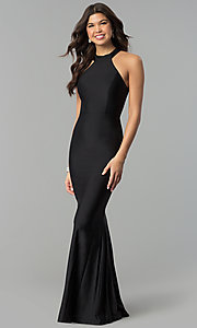 Image of high-neck racer-front mermaid military ball dress. Style: MCR-2349 Detail Image 1