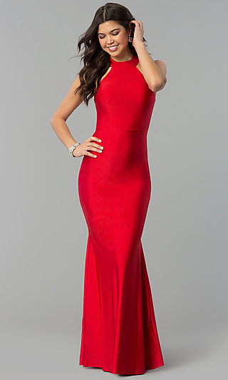 High-Neck Racer-Front Mermaid Military Ball Dress