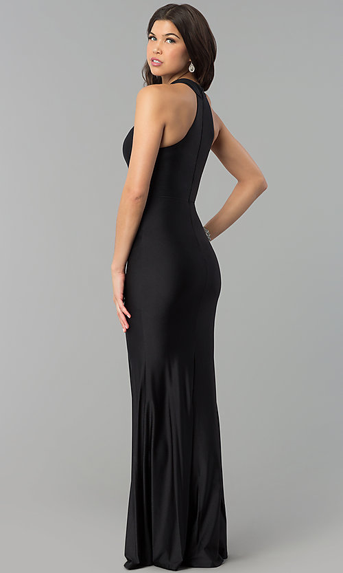 Image of high-neck racer-front mermaid military ball dress. Style: MCR-2349 Back Image