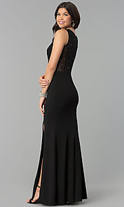 Image of long high-scoop-neck illusion-bodice prom dress. Style: MCR-2360 Back Image