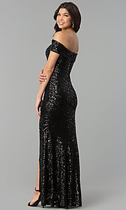 Image of off-the-shoulder long sequin-print prom dress. Style: MCR-2362 Back Image