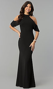 Image long cold-shoulder mermaid formal dress with ruffle. Style: MCR-2369 Detail Image 1