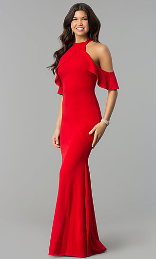 Long Cold-Shoulder Mermaid Formal Dress with Ruffle