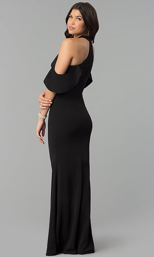 Image long cold-shoulder mermaid formal dress with ruffle. Style: MCR-2369 Back Image