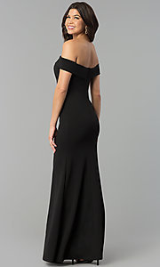 Image of long off-the-shoulder black prom dress with slit. Style: MCR-2372 Back Image
