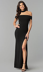 Image of long off-the-shoulder black prom dress with slit. Style: MCR-2372 Detail Image 2