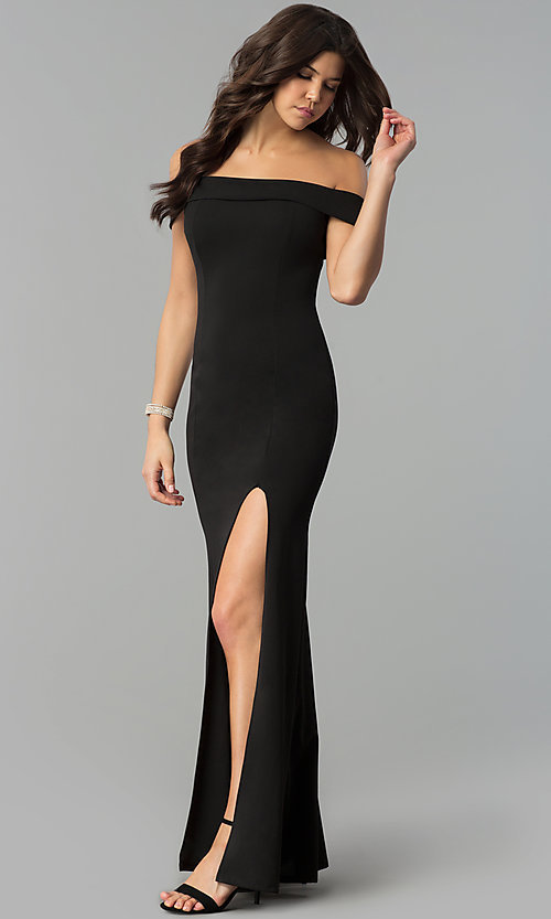 Image of long off-the-shoulder black prom dress with slit. Style: MCR-2372 Front Image
