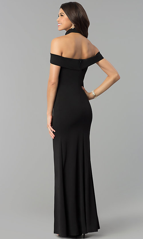 Image of long off-the-shoulder black prom dress with slit. Style: MCR-2372 Detail Image 3