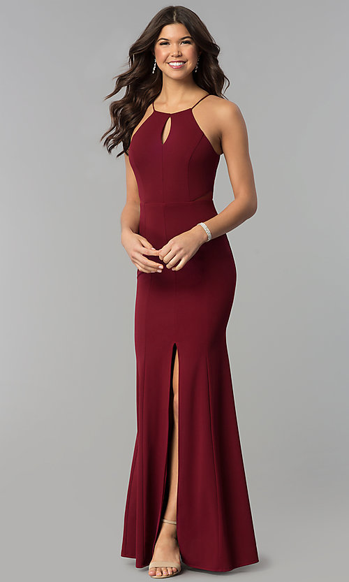Image of illusion side-cut-out high-neck keyhole prom dress. Style: MCR-2373 Detail Image 3